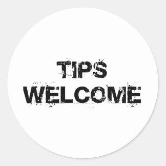Tips Welcome Round Sticker