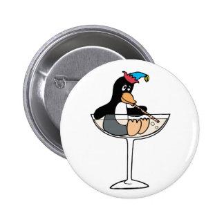 Tipsy Penguin 6 Cm Round Badge