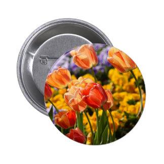 tiptoe through the tulips 6 cm round badge
