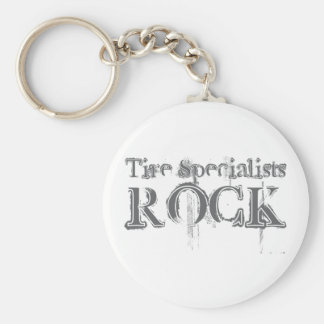 Tire Specialists Rock Basic Round Button Key Ring