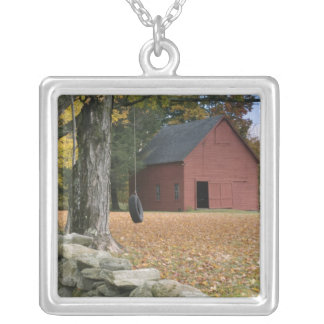 Tire swing along a road in Southern Vermont, Silver Plated Necklace