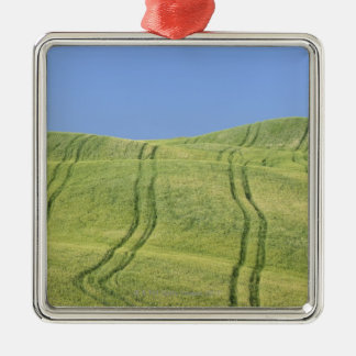 Tire Tracks in Wheat Field, Val d'Orcia, Siena Christmas Ornament
