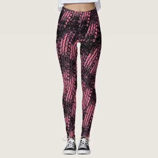 Tire Tread Leggings Pink and Black