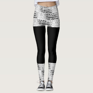 Tire Tread Leggings White and Black Faux Skirt