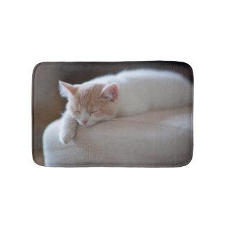 Tired Beige And White Kitten Bath Mat