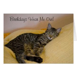 Tired Cat Birthday Card