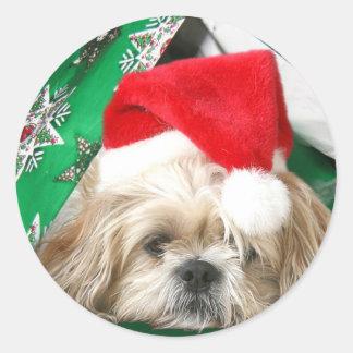 Tired Christmas Shih Tzu Classic Round Sticker