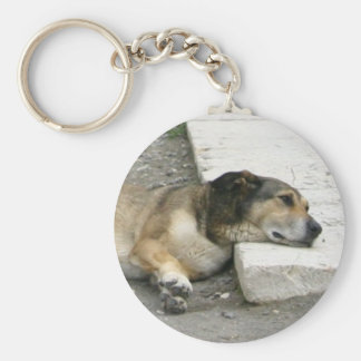 Tired Dog key chain, customize Basic Round Button Key Ring