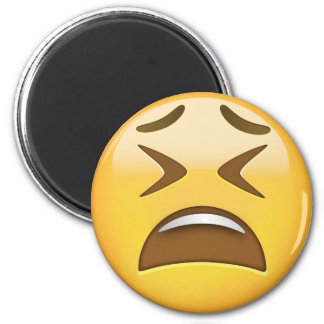 Tired Face Emoji 6 Cm Round Magnet