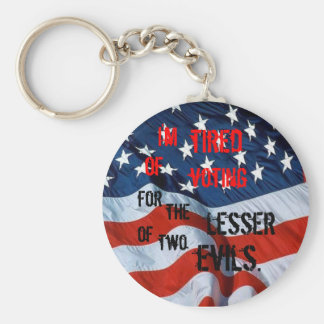 Tired of Voting for the Lesser of two evils Basic Round Button Key Ring