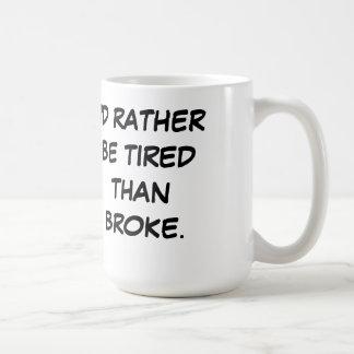 Tired Over Broke Basic White Mug