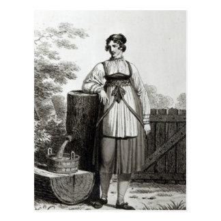 Tirollian Peasant Girl, 1817 Postcard