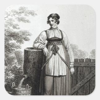 Tirollian Peasant Girl, 1817 Square Sticker