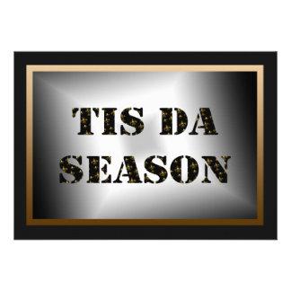 Tis Da Season Black Gold Fleur de Lis Party Cards