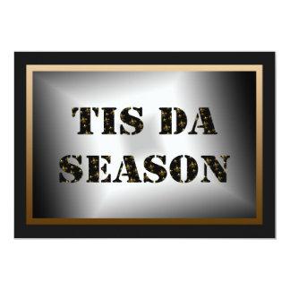 Tis Da Season Black Gold Fleur de Lis Party 13 Cm X 18 Cm Invitation Card