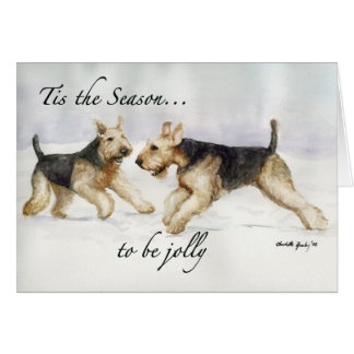 """Tis the Season"" Airedale Dog Art Christmas Card"