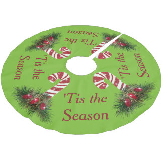 'Tis the Season Candy Cane Brushed Polyester Tree Skirt