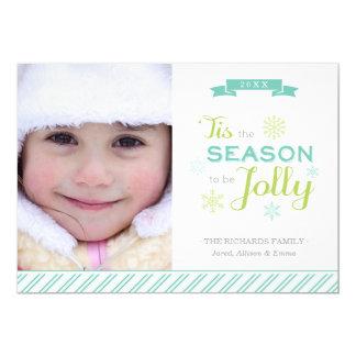 Tis The Season Christmas Photo Holiday Flat Card Announcements
