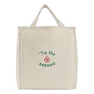 'Tis the Season Embroidered Holiday Tote Bag