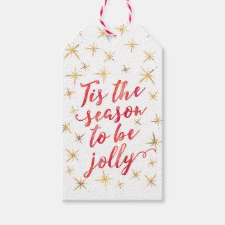 Tis the season gold snowflake gift tags