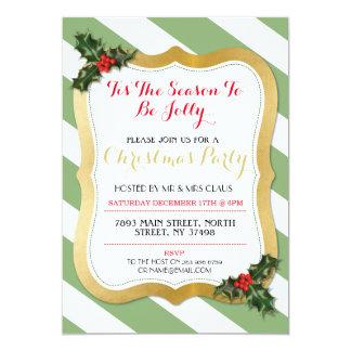 Tis The Season Green Holly Christmas Party Invite