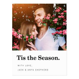 Tis the Season Modern Holiday Photo Postcard