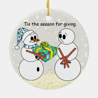 Tis The Season Of Giving Round Ceramic Decoration