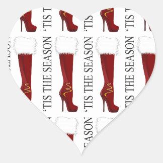Tis' the Season Red Stiletto Heart Sticker