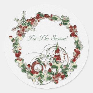Tis The Season Round Sticker