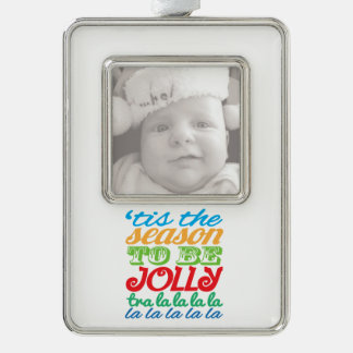 'tis the season to be jolly custom photo ornament silver plated framed ornament
