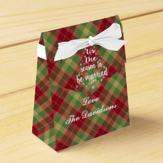 'Tis the season to be married Red Plaid Wedding Party Favour Box