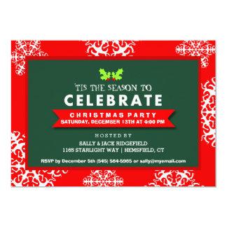 Tis the Season to Celebrate Red & Green Inivtation 13 Cm X 18 Cm Invitation Card