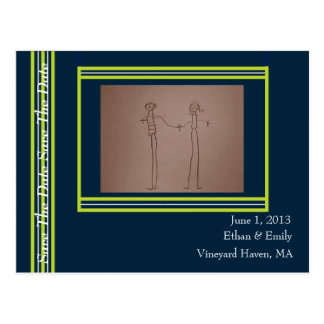 Tisbury - Navy Green White - Save The Date Card Post Cards