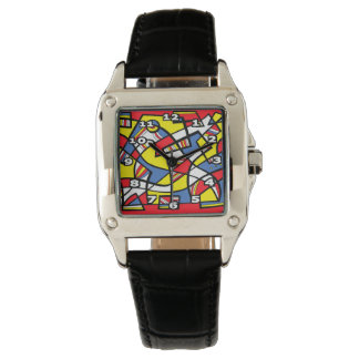 """Tischler"" Square Black Leather Watches"