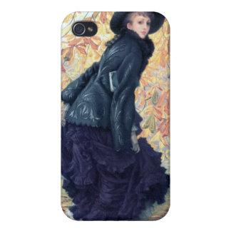 Tissot October Woman Black Dress Fall Orange Leaf iPhone 4 Covers