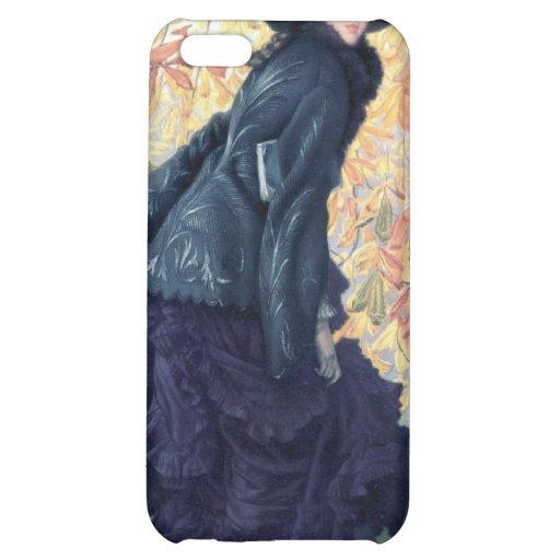 Tissot October Woman Black Dress Fall Orange Leaf iPhone 5C Case
