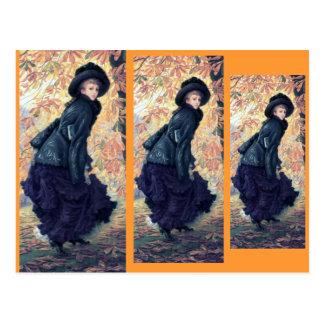 Tissot October Woman Black Dress Fall Orange Leaf Postcard