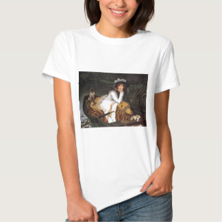 Tissot young lady and pug antique painting tees
