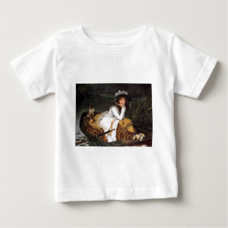 Tissot young lady and pug antique painting t shirts