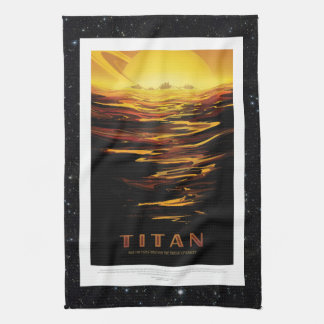 Titan Moon of Saturn holiday advert space tourism Tea Towel