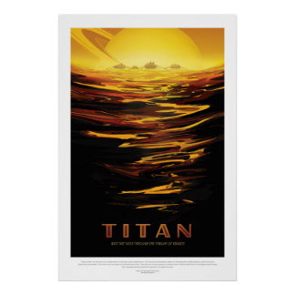Titan Moon of Saturn vacation advert space tourism Poster