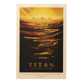 Titan Moon of Saturn vacation advert space tourism Wood Print