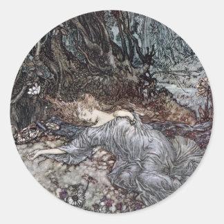 Titania Lying Asleep Round Sticker