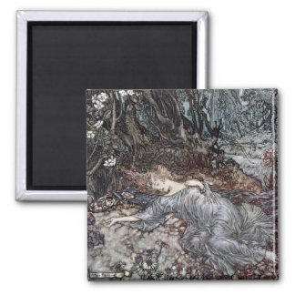 Titania Lying Asleep Square Magnet