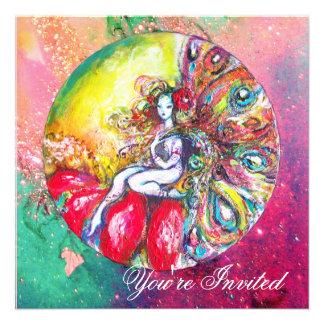 TITANIA , pink yellow  blue green red sparkles Invites