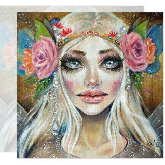 Titania Queen of the Faeries Original Art 13 Cm X 13 Cm Square Invitation Card