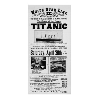 Titanic 3rd Class Advertising Poster