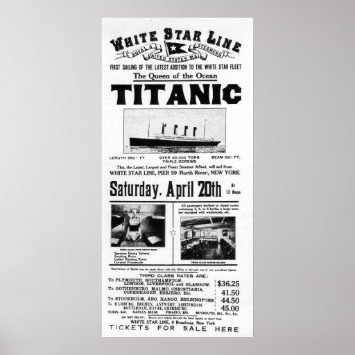 Titanic 3rd Class Advertising Poster | Zazzle
