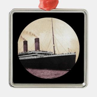 Titanic at Sea Silver-Colored Square Decoration