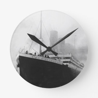 Titanic in dock in Southampton Round Clock